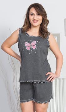 Dámské pyžamo šortky na ramínka Motýlci
