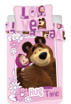 """Disney povlečení do postýlky Máša a medvěd """"Love"""" baby 100x135, 40x60 cm"""