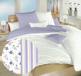 Povlečení bavlna Květinky fialové/Proužky fialové 140x200, 70x90 cm