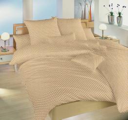 Povlečení bavlna Puntík bílý na béžovém 140x200, 70x90 cm