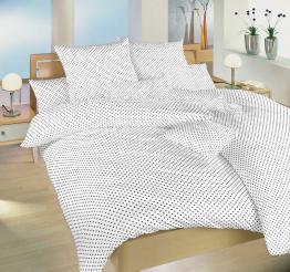 Povlečení bavlna Puntík šedý na bílém 140x200, 70x90 cm