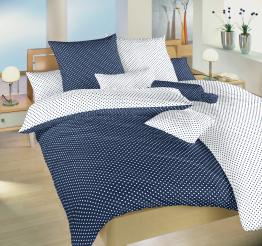 Povlečení bavlna Puntík tmavě modrý/bílý DUO 140x200, 70x90cm