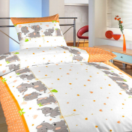 Povlečení bavlna Sloni oranžoví 140x200, 70x90 cm