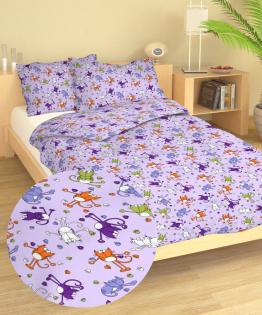 Povlečení bavlna do postýlky Kočky fialové 90x130, 45x60 cm