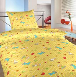Povlečení bavlna do postýlky Ovečky malé žluté 90x130, 45x60 cm