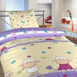 Povlečení bavlna do postýlky Ovečky velké fialové 90x130, 45x60 cm
