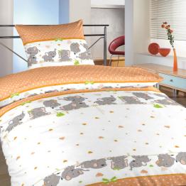 Povlečení bavlna do postýlky Sloni oranžoví 90x130, 45x60 cm