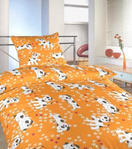 Povlečení krep do postýlky Pejsci oranžoví 90x130, 45x60 cm