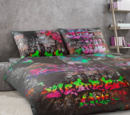 Povlečení satén Geon Graffiti art 140x200, 70x90 cm